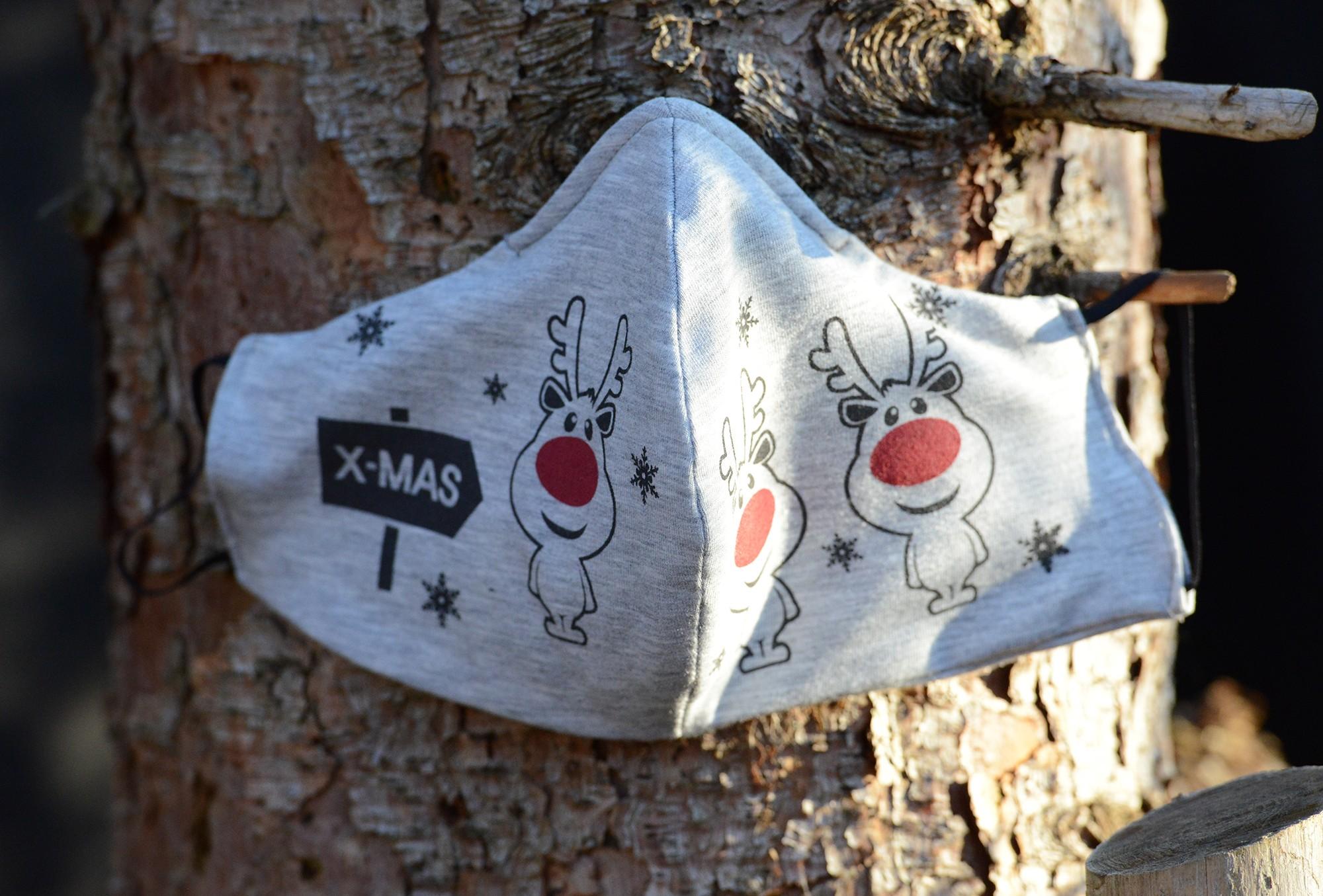 """Behelfsmäßige Mund-Nasen-Maske (""""Alltagsmaske"""", """"Community-Maske"""") – grau mit Aufdruck """"Rudi"""" (1 Packung=1 Stück)"""